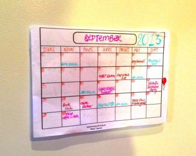 DIY Dry Erase Calendar